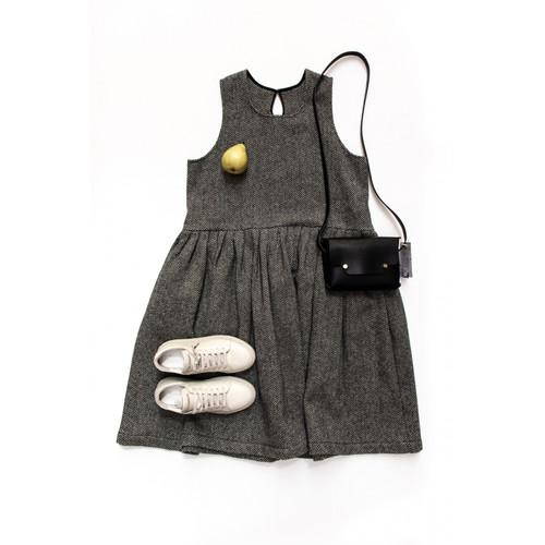Sleeveless Pleated Wool Dress in HERRINGBONE by Le Vestiaire De Jeanne (LVJ) France