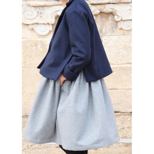 Sleeveless Pleated Wool Blend Dress in GREY by Le Vestiaire De Jeanne (LVJ) France