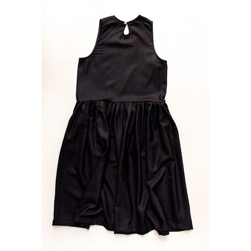 Sleeveless Pleated Wool Blend Dress in CHARCOAL (almost black) by Le Vestiaire De Jeanne (LVJ) France