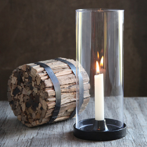 Cast Iron and Glass Taper Candle Hurricane