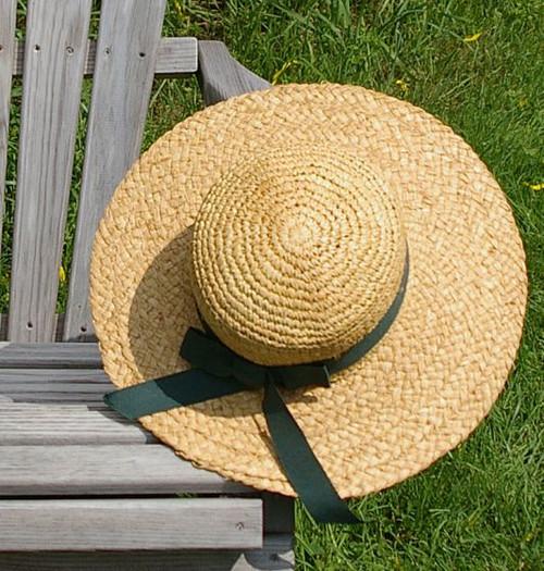 Raffia Sun Hat With Forest Green Ribbon