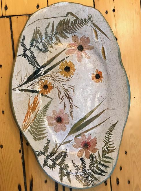 Large Oval Platter Wildflower Botanical Stoneware Pottery