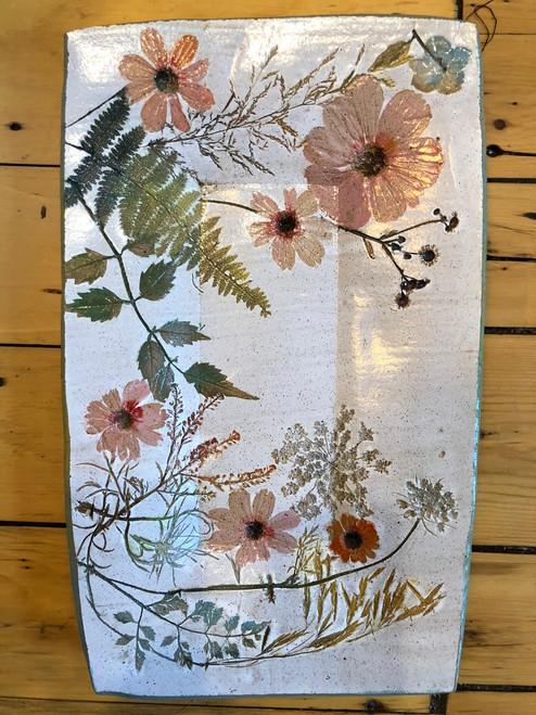 Large Rectangle Tray Wildflower Botanical Stoneware Pottery