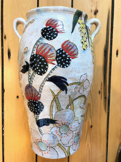 Large Vase in Flowers & Pigment Stoneware Pottery