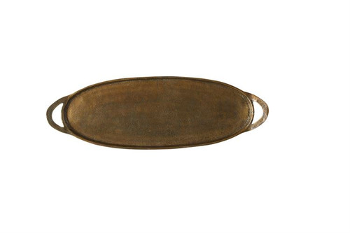 """Oval Tray Aluminum with Brass Finish 24"""""""