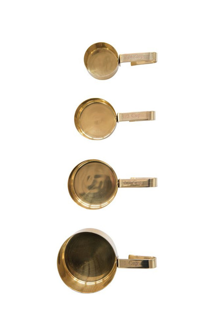 Stainless Steel Measuring Cups with Brass Finish (Set of 4)