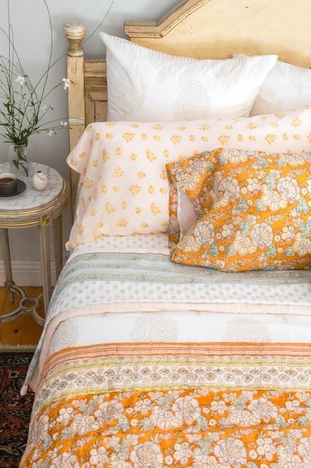 King Quilt in Marigold (Orange Floral)