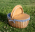 Country Picnic Basket in Blue and White Ticking Stripe