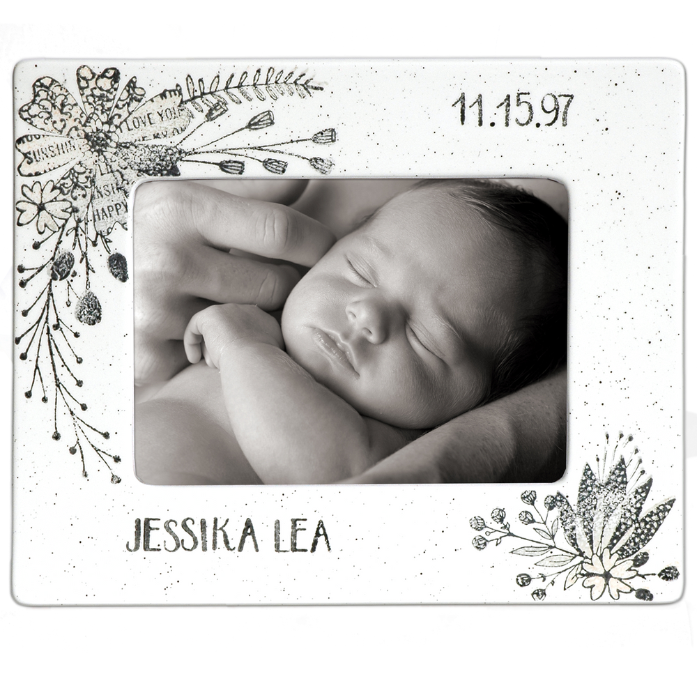 Hand painted, personalized Flower Baby Photo Frame