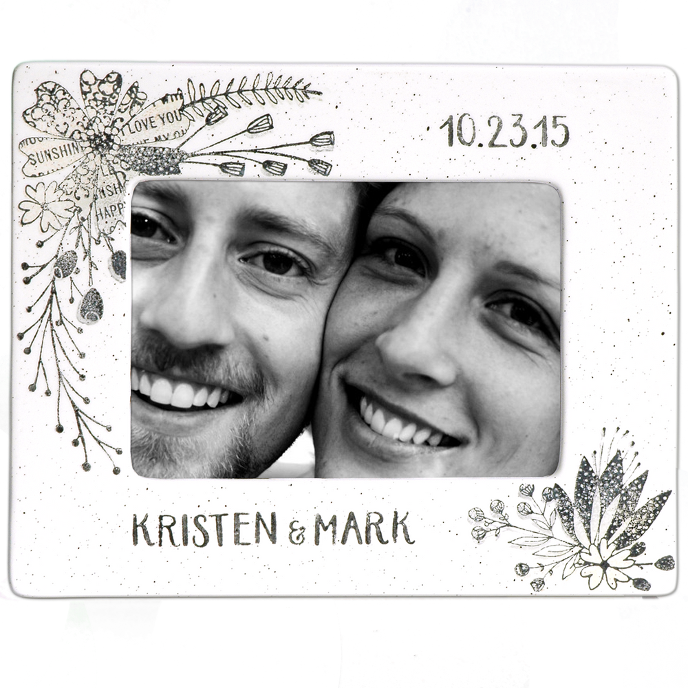 Hand painted, personalized Wedding Photo Frame