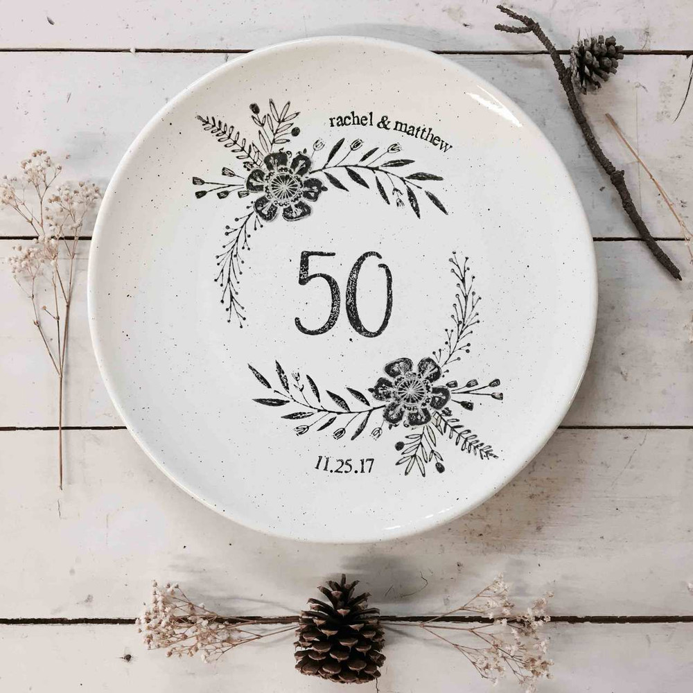 Monogrammed 50th Wedding Anniversary Platter personalized with two digit number, couple's names and wedding date