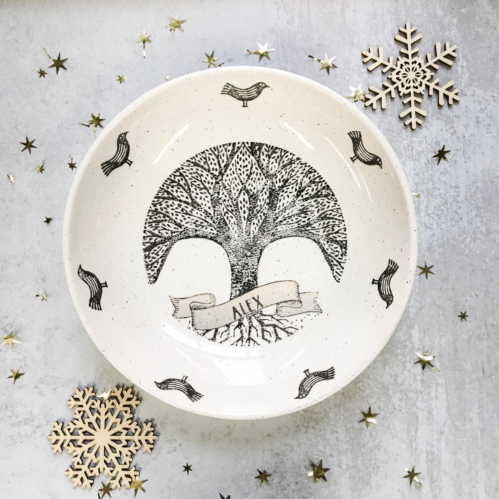 Personalized Family Tree Ceramic Centerpiece Bowl