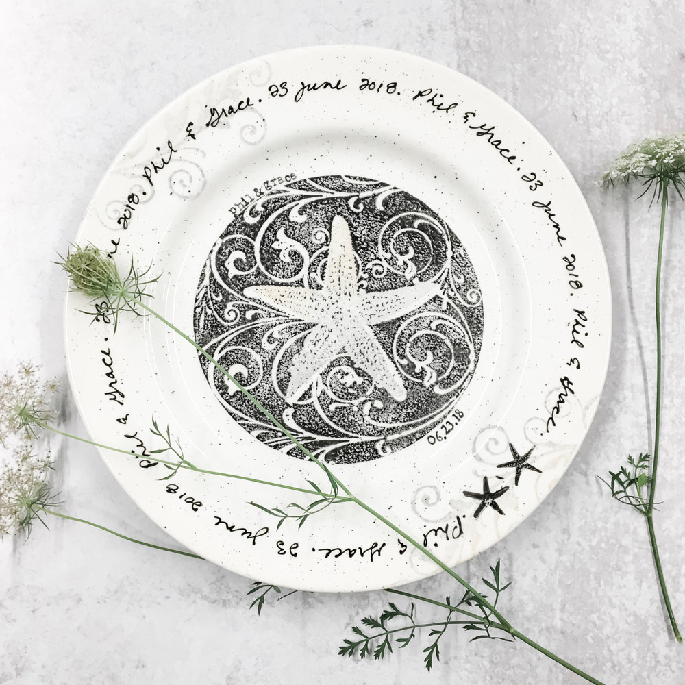 Coastal Cursive Wedding Plate