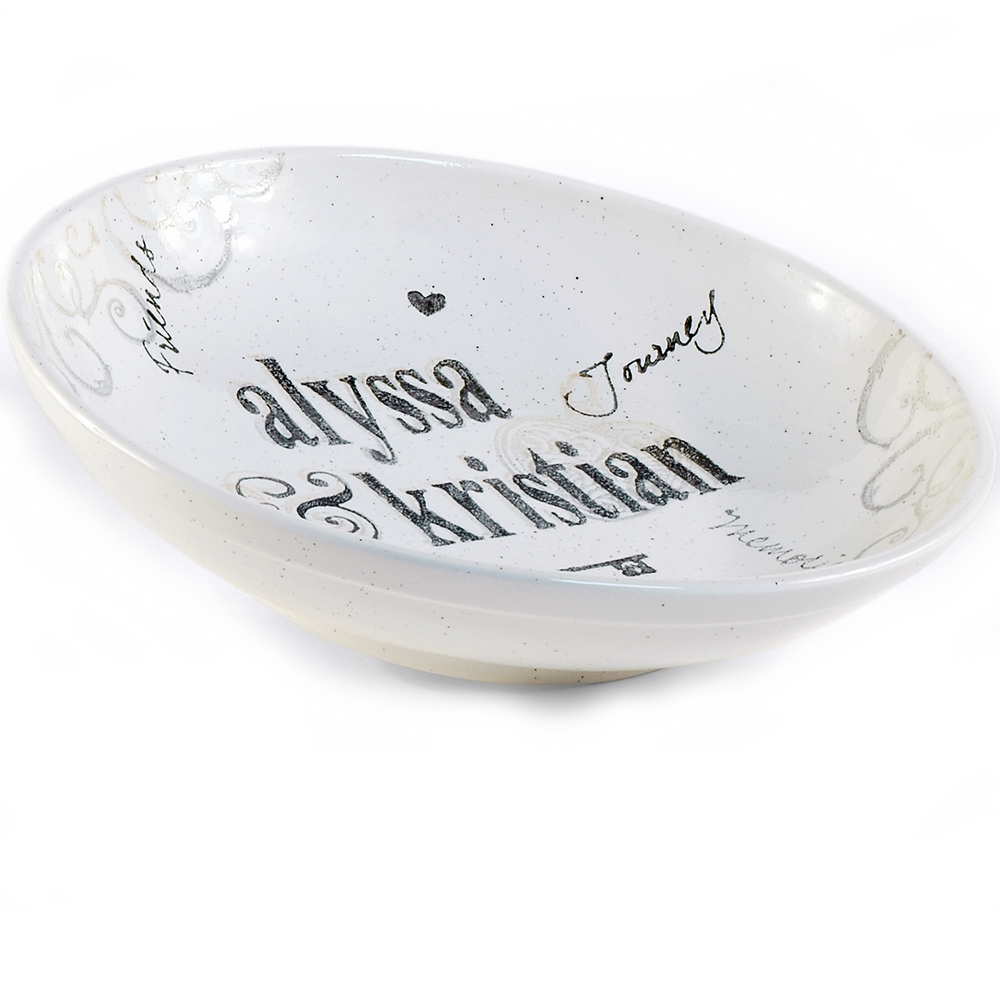 Hand painted, personalized Name Wedding Bowl