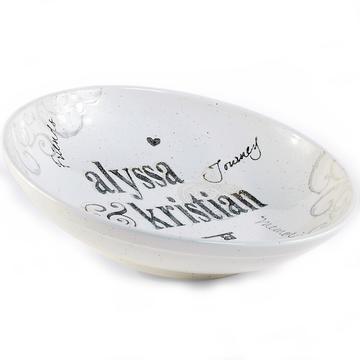 Hand painted, personalized Family Name Bowl - shape profile