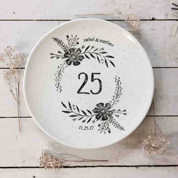 Monogrammed 25th Wedding Anniversary Platter personalized with two digit number, couple's names and wedding date