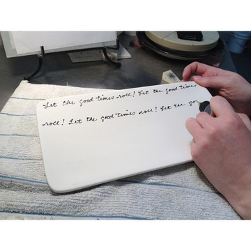 Your message or family names are hand written in our own natural cursive. Messages are partially repeated to fill the entire background.