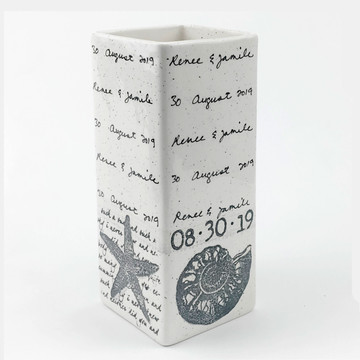 Coastal Cursive Wedding Vase