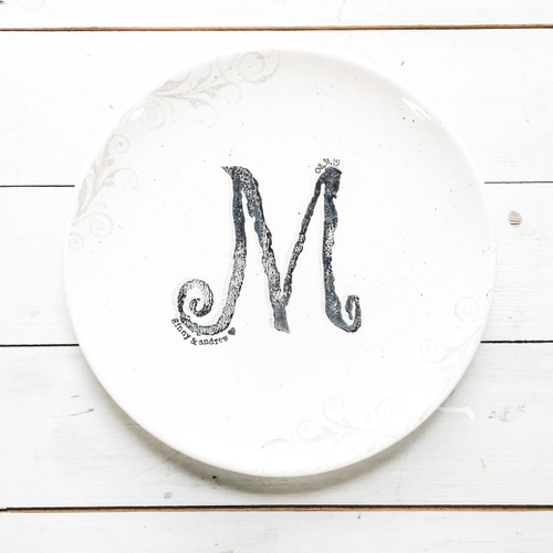 Monogram wedding guest book platter