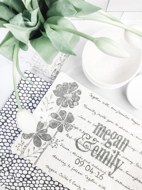 Personalized Wedding Invitation Platter - Flower