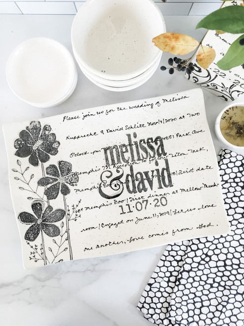 Personalized Wedding Invitation Platter - Flower