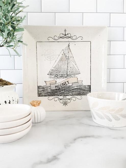 Personalized Nautical Wedding Platter Sailboat