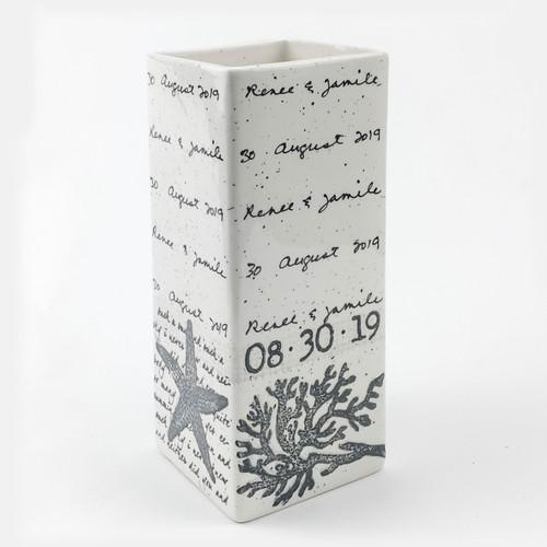 Coastal Cursive Wedding Vase