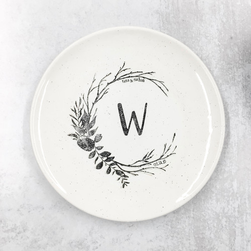 Rustic wedding monogram platter
