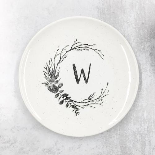 Rustic wedding monogram platter