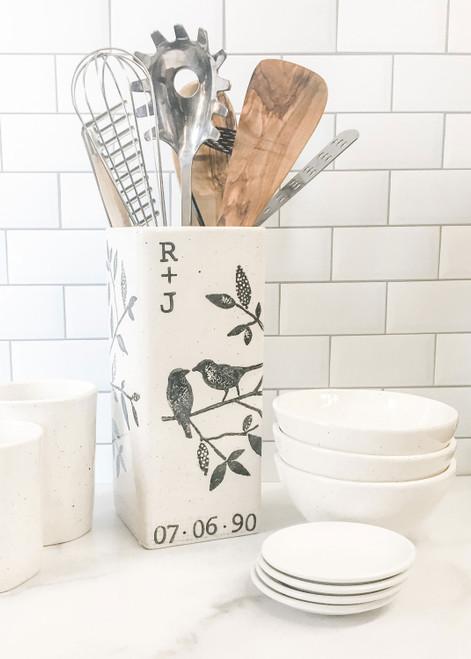 Songbird Personalized Wedding Vase as Utensil Holder