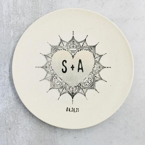 Personalized Monogram Mandala wedding Platter - Neutral