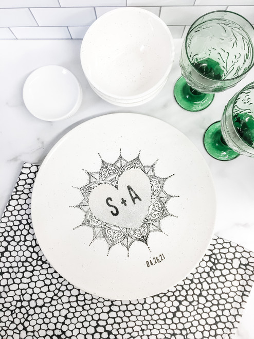Personalized Monogram Mandala wedding Platter - Neutral