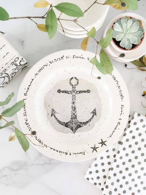 Personalized Anchor GPS Plate - Neutral