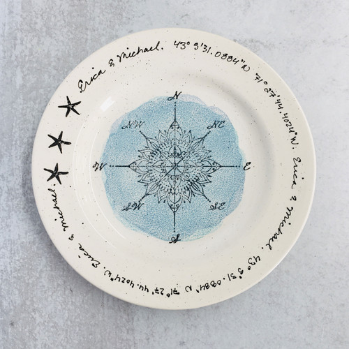Compass Rose Personalized Wedding Platter - blue