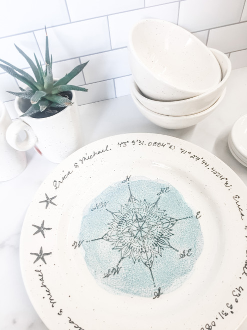 Compass GPS Personalized Wedding Plate - blue