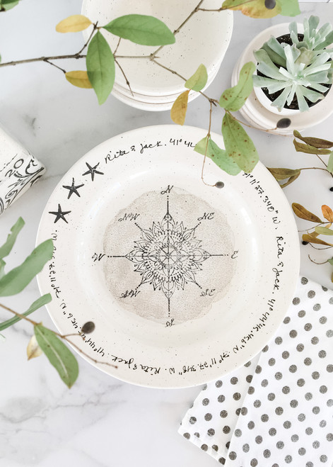Compass GPS Personalized Wedding Plate - neutral