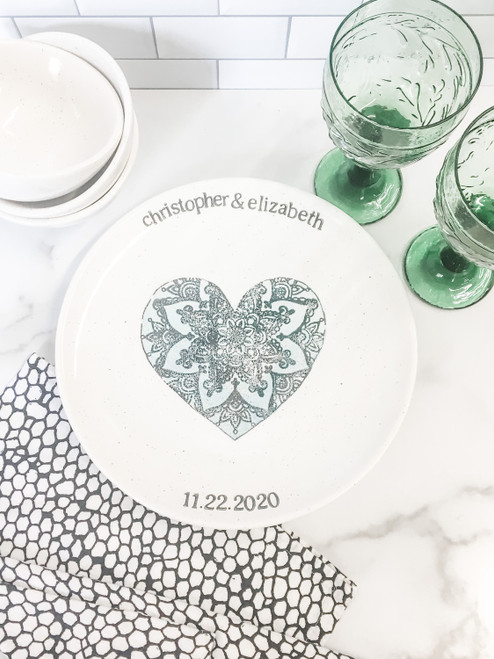 Lace Heart Personalized Wedding Gift - blue