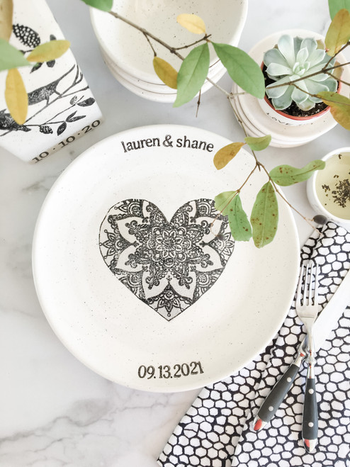 Lace Heart Personalized Engagement Gift - Neutral