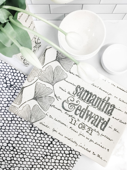Ginkgo Leaf Wedding Invitation Platter