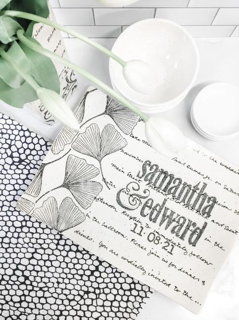 Ginkgo Leaf Wedding Invitation Platter