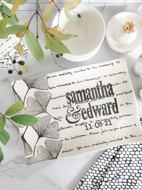 Ginkgo Wedding Invitation Platter