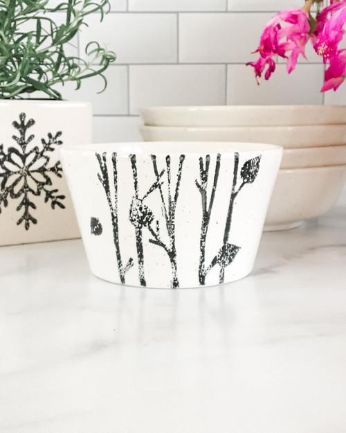 Hand Painted Winter Birch Ceramic Bowl