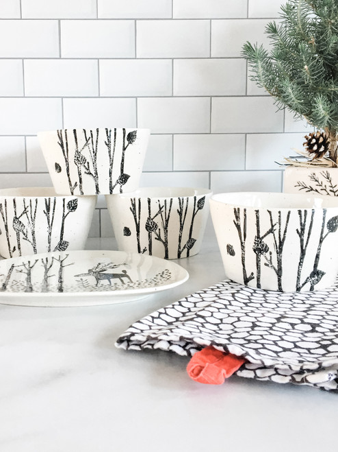 Hand Painted Winter Birch Ceramic Bowl Set 4