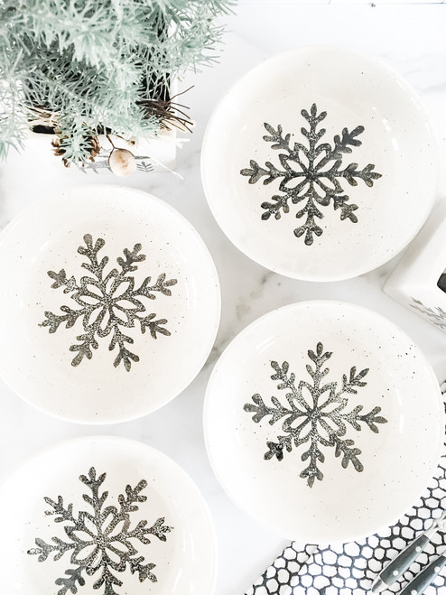 Hand Painted Winter Snow Coupe Ceramic Pasta Bowl