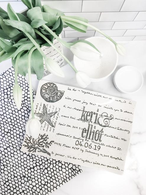 Personalized Beach Wedding Invitation Platter