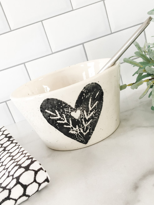 Heart Tapered Bowl - 16 oz Art Pottery Bowl  for friends & lovers