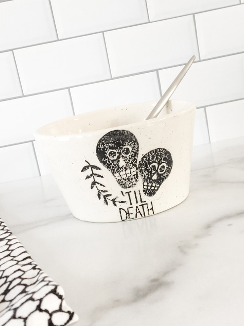 Til Death Skulls Ceramic Halloween & Goth Themed Bowl