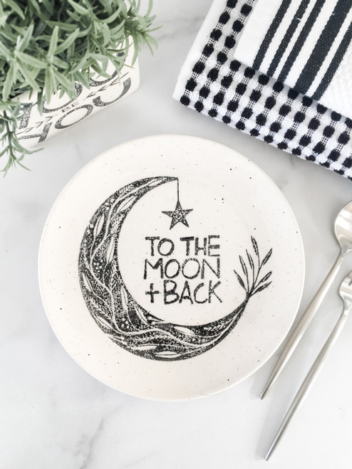 To the moon & back plate, unique baby shower gift, gift for friends & lovers