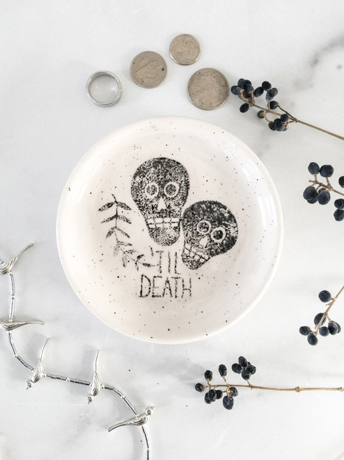 Til Death Ceramic Ring Dish, Tea Bag holder, Mini Dessert Plate