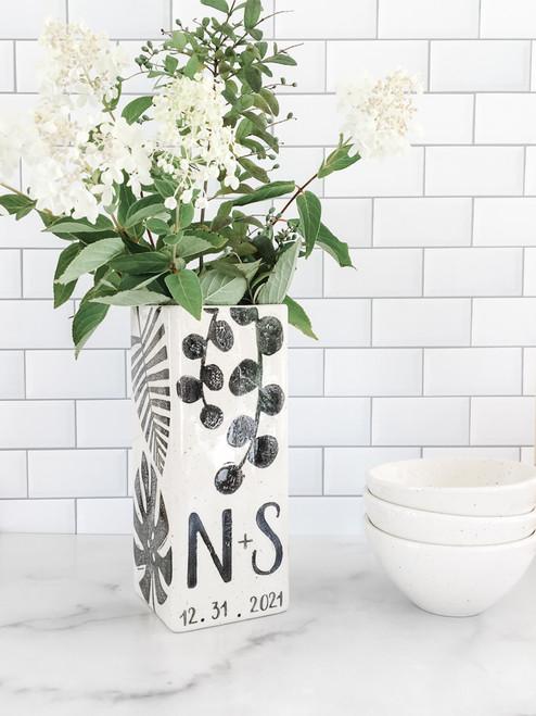 Personalized Modern Botanical Monogram Vase Black